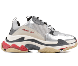 How to get Balenciaga Triple S Trainers Sliver / Black / Red shoes online
